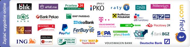 Umożliwiamy szybkie płatności internetowe za pomocą serwisu Transferuj.pl, do wyboru jest aż 40 banków